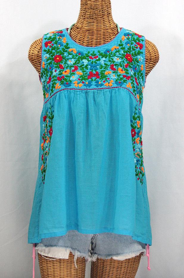 """La Sirena"" Sleeveless Mexican Blouse -Aqua + Fiesta"
