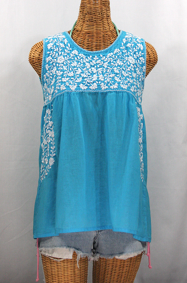 """La Sirena"" Sleeveless Mexican Blouse - Aqua + White"