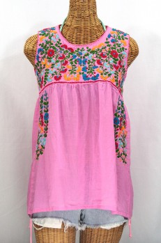 """La Sirena"" Sleeveless Mexican Blouse -Bubblegum + Fiesta"