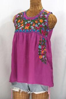 """La Sirena"" Sleeveless Mexican Blouse -Fuchsia + Fiesta"