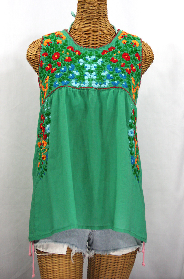 """""""La Sirena"""" Embroidered Mexican Style Peasant Top - Green + Fiesta"""