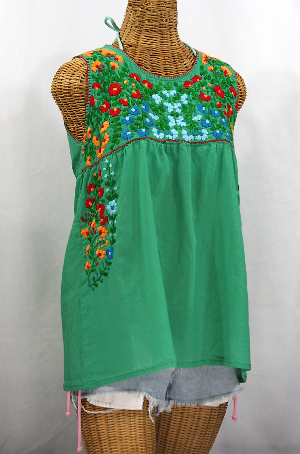 """La Sirena"" Embroidered Mexican Style Peasant Top - Green + Fiesta"