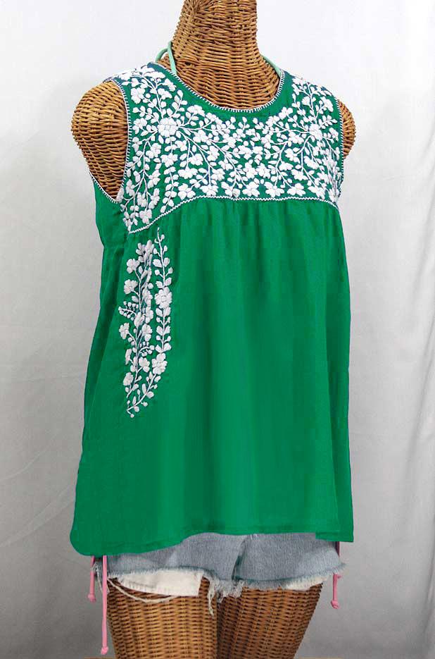 """""""La Sirena"""" Sleeveless Mexican Blouse - Green + White"""