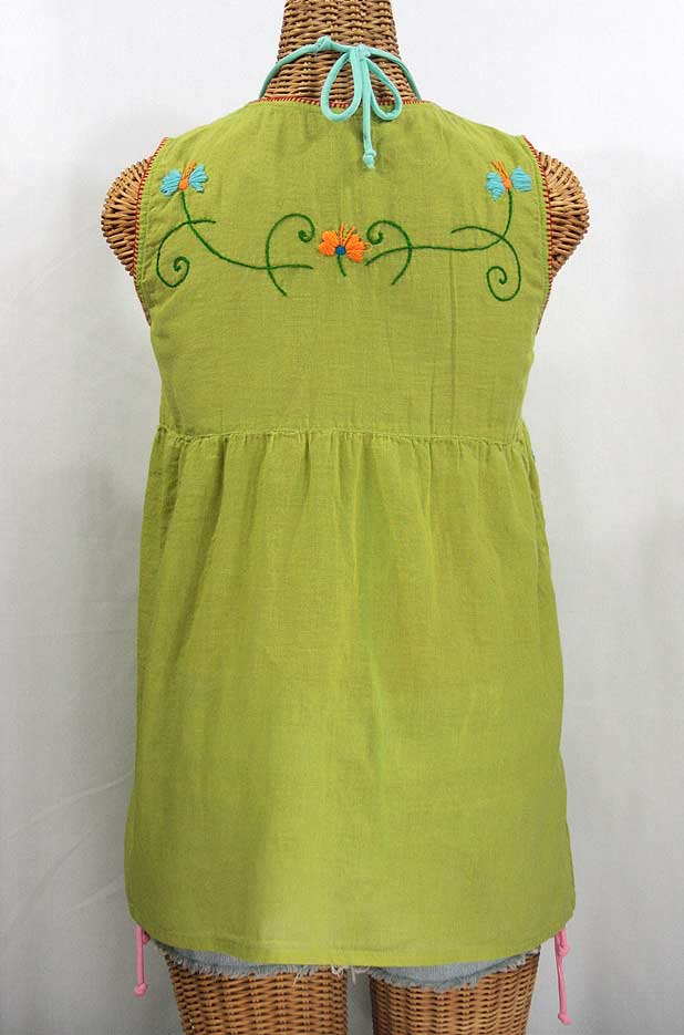 """La Sirena"" Embroidered Mexican Style Peasant Top - Moss Green + Fiesta"