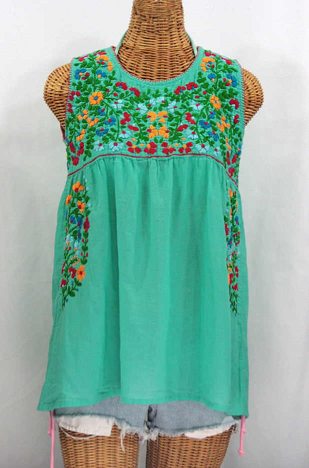 """La Sirena"" Sleeveless Mexican Blouse -Mint Green + Fiesta"