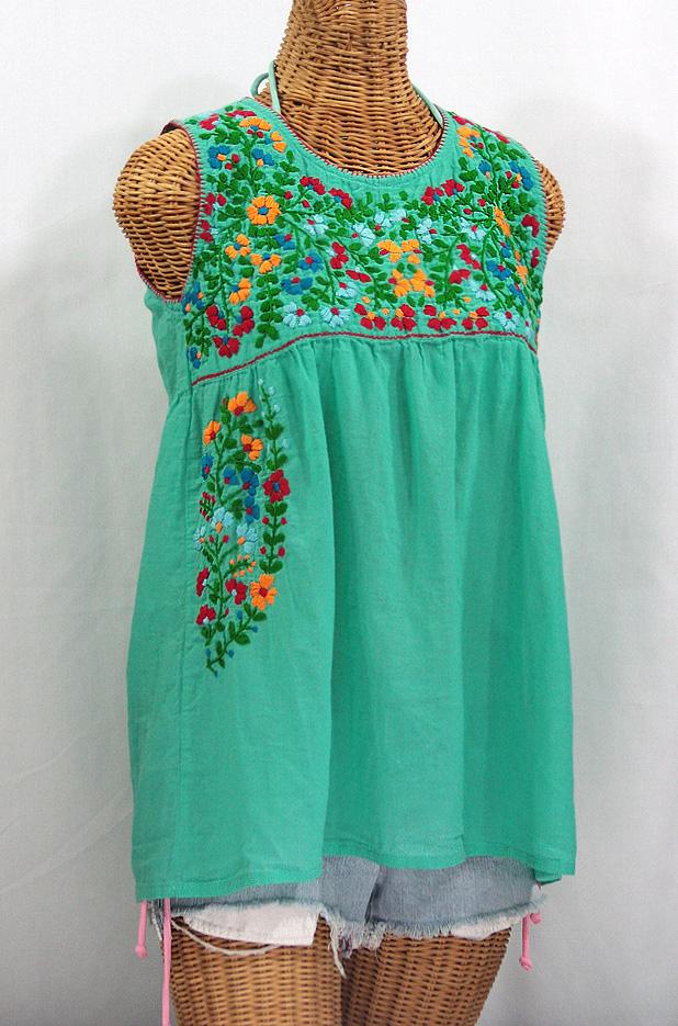 """La Sirena"" Sleeveless Mexican Blouse -Mint Green + Fiesta"