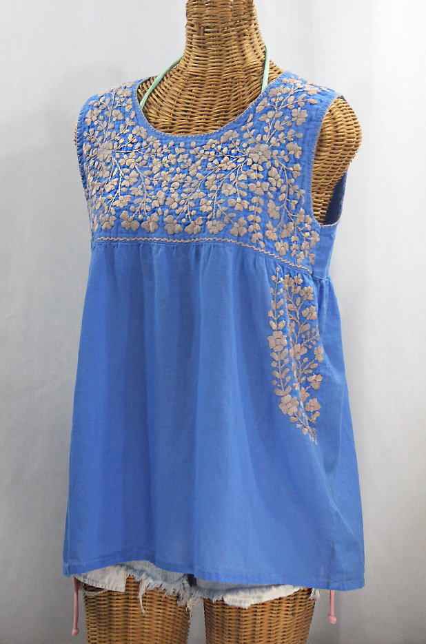 """La Sirena"" Sleeveless Mexican Blouse - Light Blue + Cocoa"