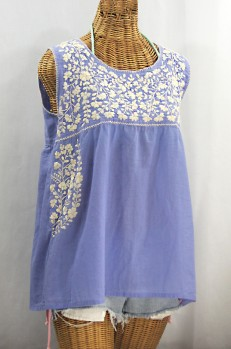 """La Sirena"" Sleeveless Mexican Blouse - Periwinkle + Cream"