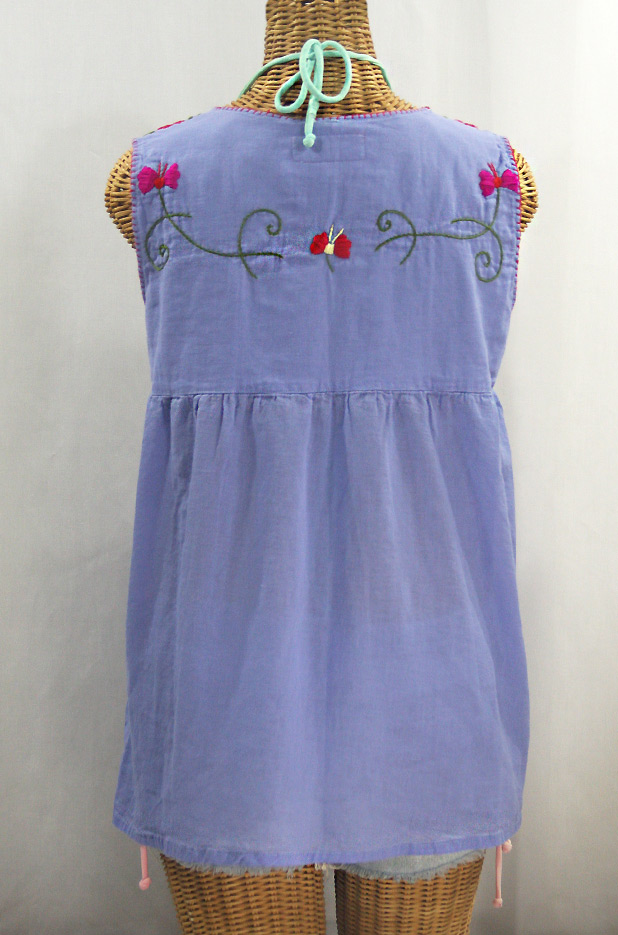 """La Sirena"" Sleeveless Mexican Blouse - Periwinkle + Multi"