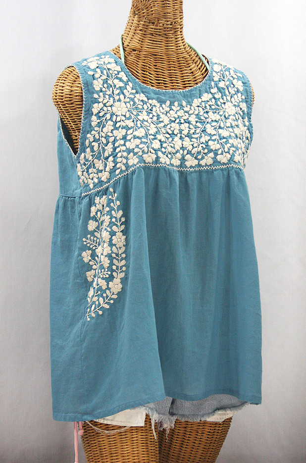 """La Sirena"" Sleeveless Mexican Blouse - Pool Blue + Cream"
