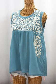 """La Sirena"" Sleeveless Mexican Blouse - Pool Blue + Cream"