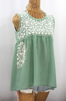 """La Sirena"" Sleeveless Mexican Blouse - Sage + Cream"