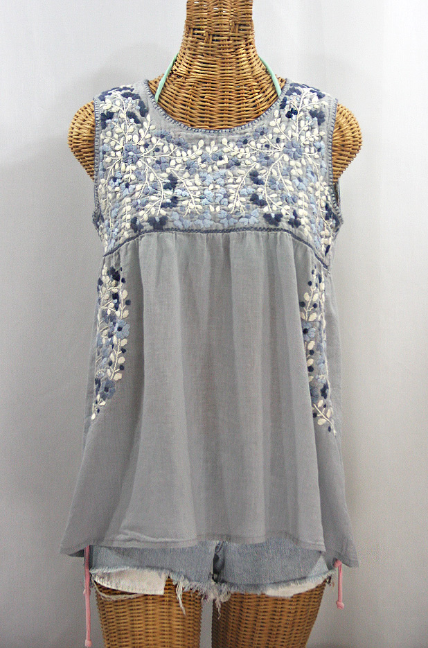 """La Sirena"" Sleeveless Mexican Blouse -Grey + Grey Mix"