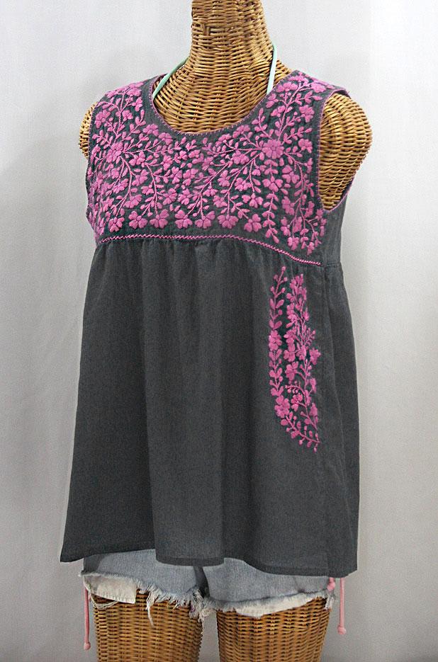 """La Sirena"" Sleeveless Mexican Blouse -Grey + Pink"
