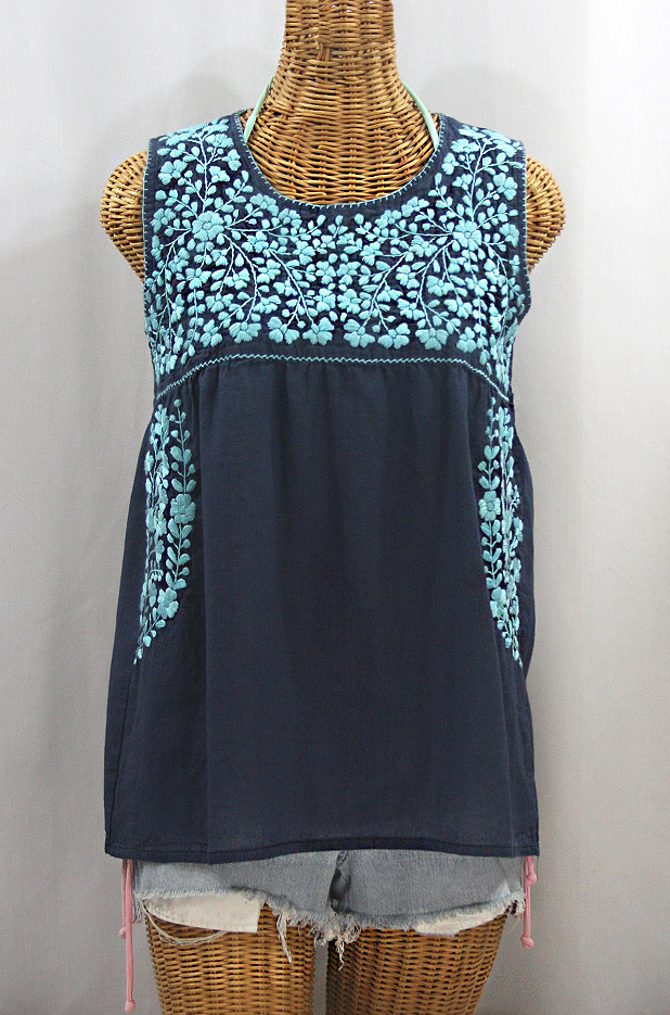 """La Sirena"" Sleeveless Mexican Blouse -Navy + Neon Blue"