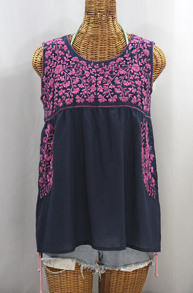 """La Sirena"" Sleeveless Mexican Blouse -Navy + Pink"