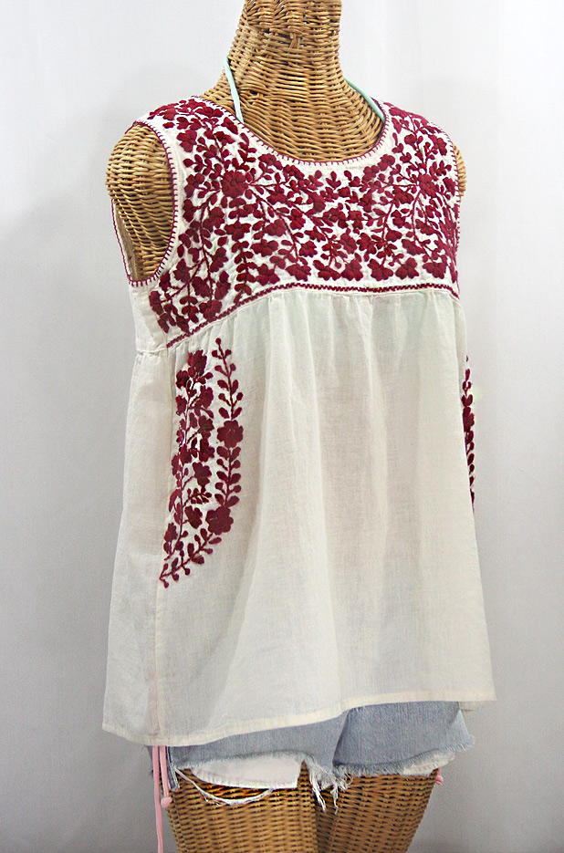 """La Sirena"" Sleeveless Mexican Blouse -Off White + Burgundy"