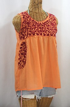"""La Sirena"" Sleeveless Mexican Blouse - Orange Cream + Burgundy"