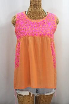 """La Sirena"" Sleeveless Mexican Blouse - Orange Cream + Bright Pink"