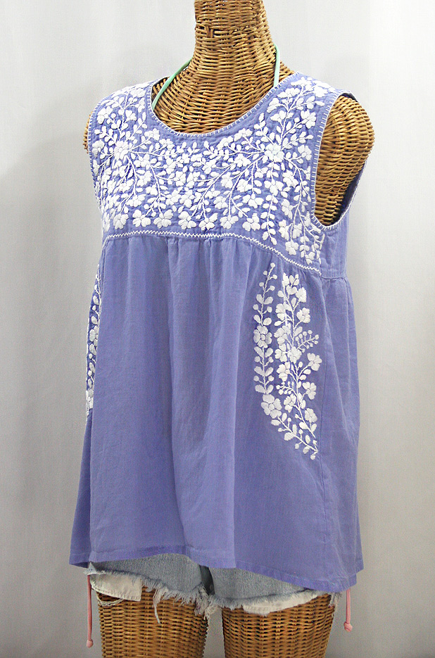 """La Sirena"" Sleeveless Mexican Blouse - Periwinkle + White"