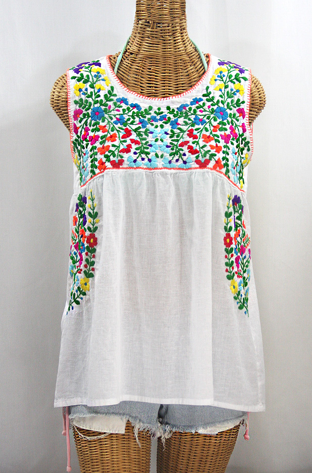 """La Sirena"" Sleeveless Mexican Blouse - White + Rainbow"