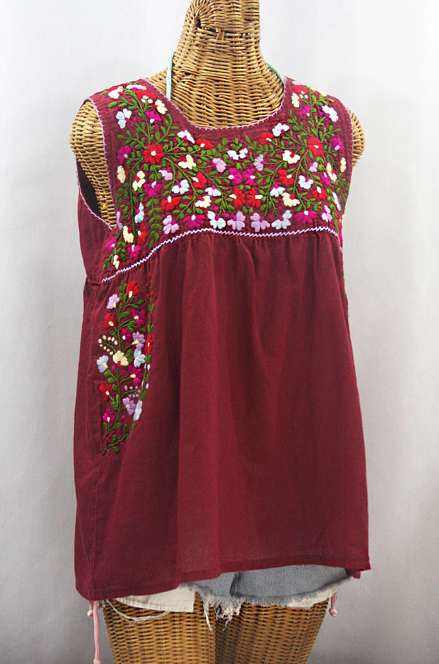 """La Sirena"" Embroidered Mexican Style Peasant Top -Burgundy + Multi"
