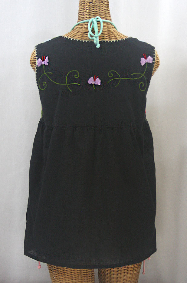 """""""La Sirena"""" Embroidered Mexican Style Peasant Top -Black + Multi"""