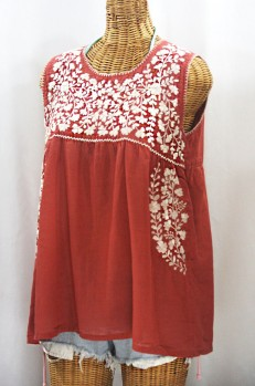 """La Sirena"" Sleeveless Mexican Blouse - Terracotta + Cream"