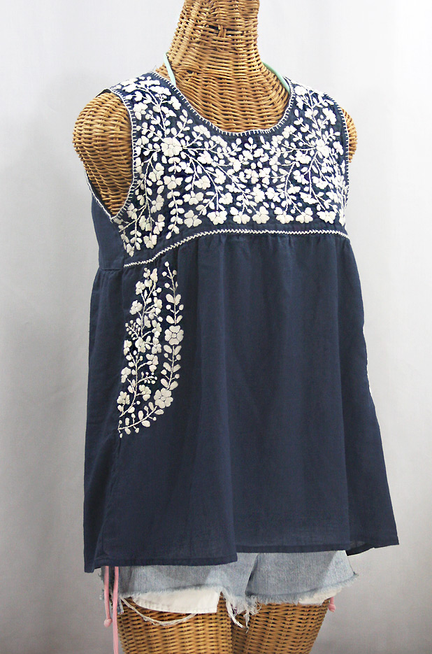 La Sirena in Navy with Light Blue Embroidery ~ Size LARGE Mexican Peasant Top Blouse Sleeveless Hand Embroidered