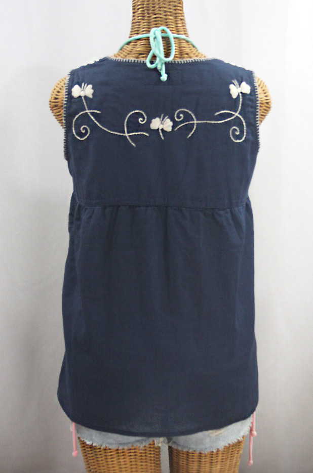 """La Sirena"" Sleeveless Mexican Blouse -Navy + Cream"