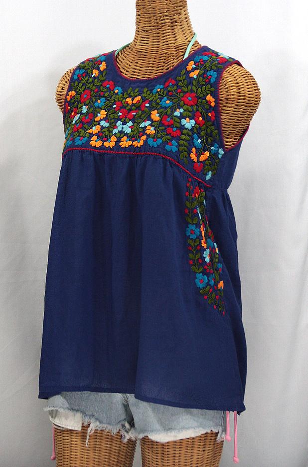 """La Sirena"" Sleeveless Mexican Blouse -Denim Blue + Fiesta"