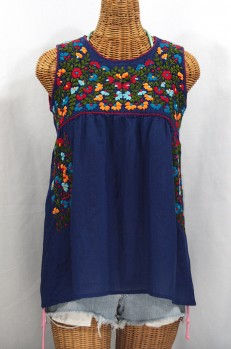 """La Sirena"" Sleeveless Mexican Blouse -Denim Blue + Fiesta"