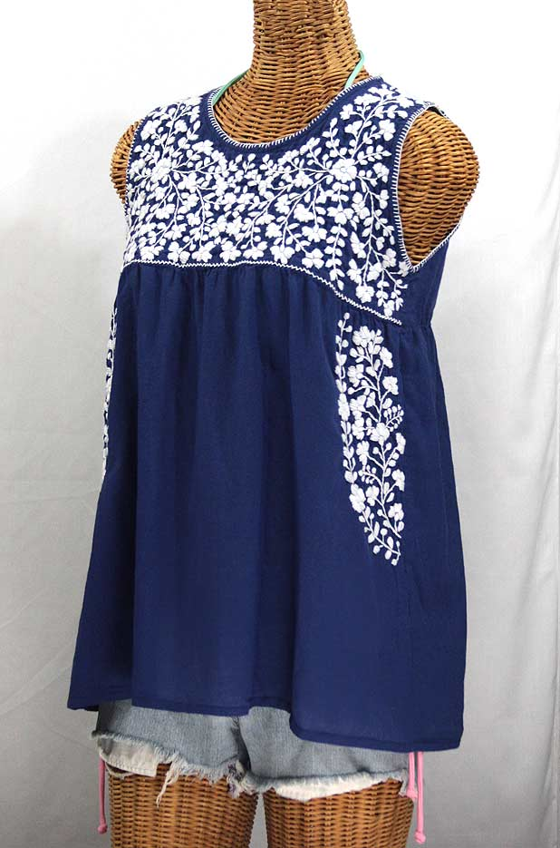 """La Sirena"" Sleeveless Mexican Blouse -Denim Blue + White"