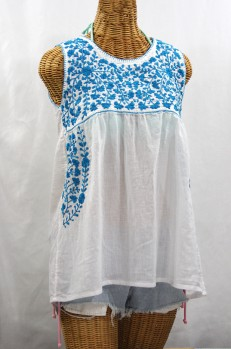 """La Sirena"" Sleeveless Mexican Blouse -White + Aqua"