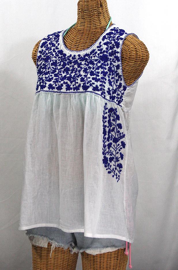 """La Sirena"" Sleeveless Mexican Blouse -White + Blue"