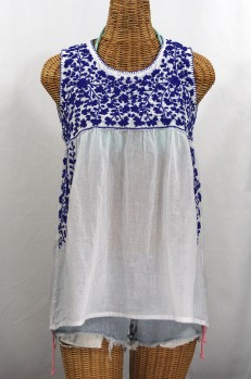 """La Sirena"" Sleeveless Mexican Blouse -White + Blue"