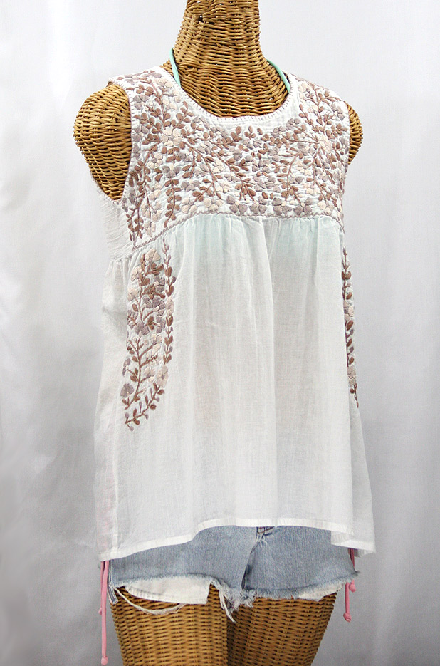 """La Sirena"" Sleeveless Mexican Blouse -White + Cocoa Tone"