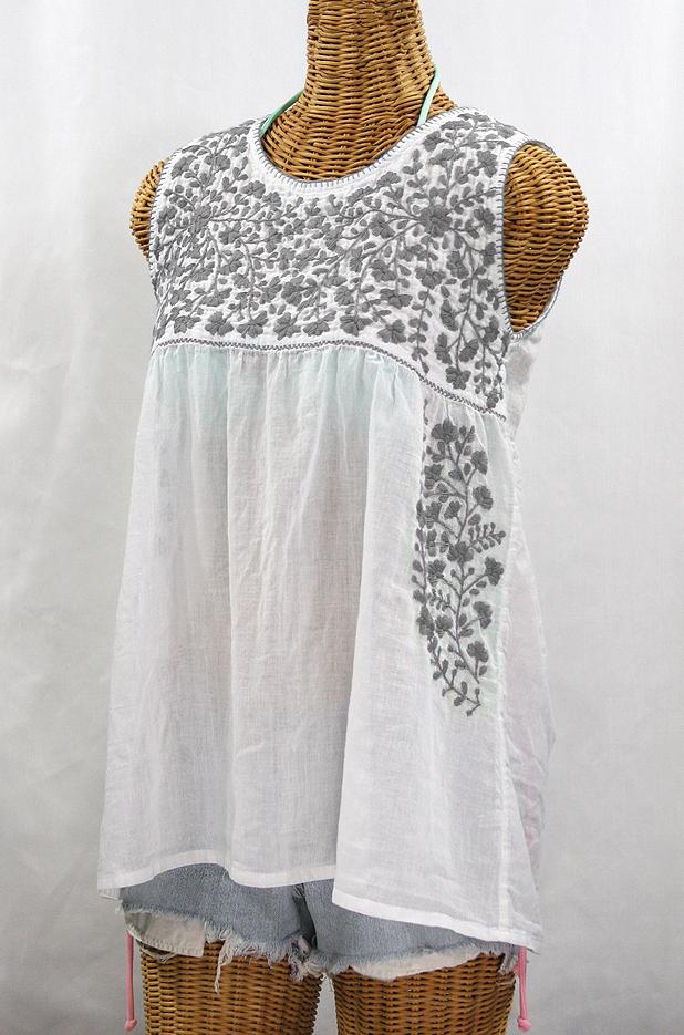 """""""La Sirena"""" Sleeveless Mexican Blouse -White + Grey"""