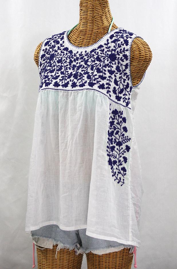 """""""La Sirena"""" Sleeveless Mexican Blouse -White + Navy"""