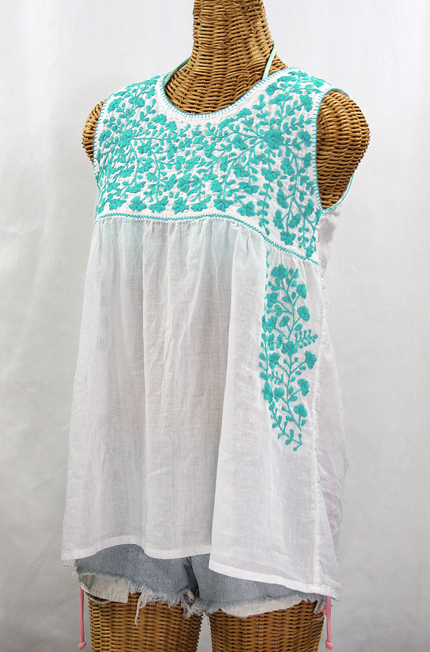 """La Sirena"" Sleeveless Mexican Blouse -White + Neon Blue"