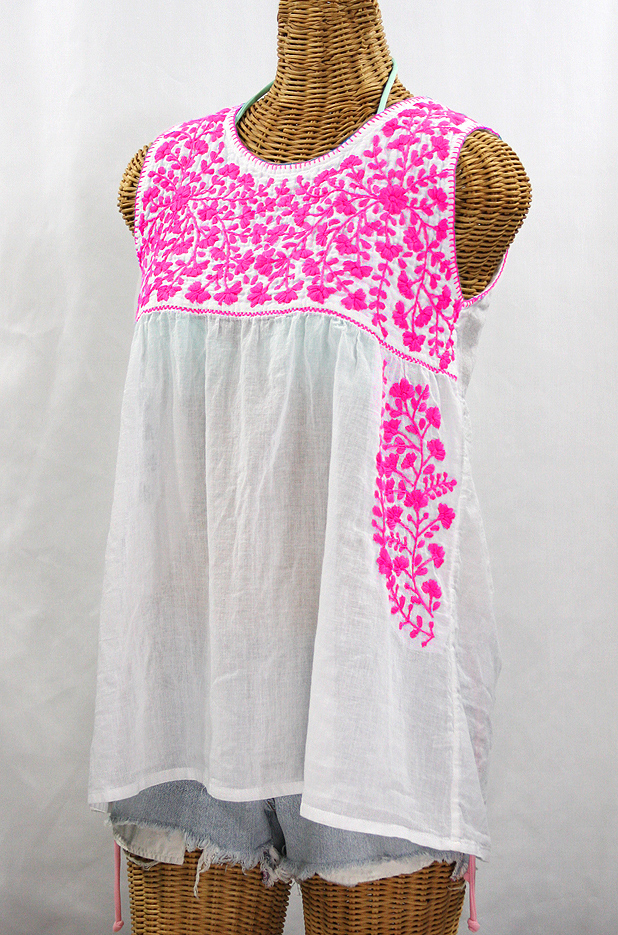"""La Sirena"" Sleeveless Mexican Blouse -White + Neon Pink"