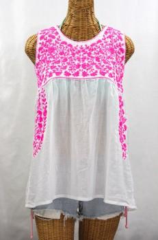 """La Sirena"" Sleeveless Mexican Blouse -White + Neon Pink"
