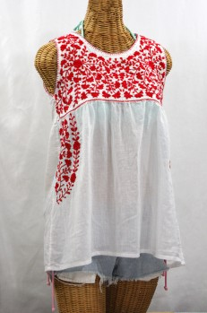 """La Sirena"" Sleeveless Mexican Blouse -White + Red"