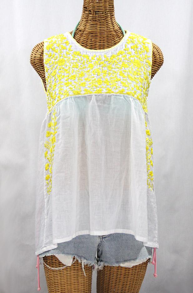 """""""La Sirena"""" Sleeveless Mexican Blouse -White + Neon Yellow"""