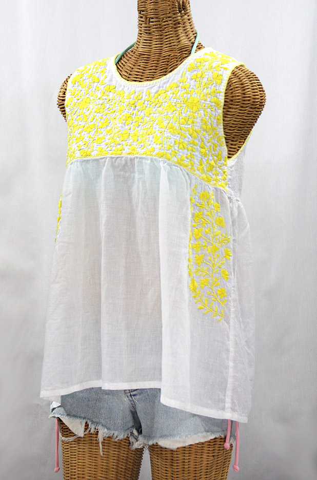 """La Sirena"" Sleeveless Mexican Blouse -White + Neon Yellow"