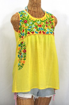 """La Sirena"" Sleeveless Mexican Blouse -Bright Yellow + Fiesta"