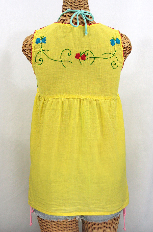 """La Sirena"" Sleeveless Mexican Blouse -Bright Yellow + Fiesta"