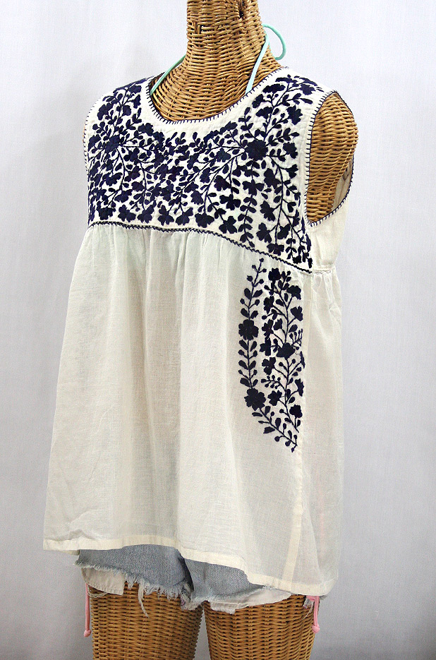 """La Sirena"" Sleeveless Mexican Blouse -Off White + Navy"