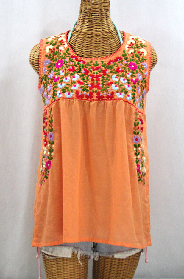 """La Sirena"" Sleeveless Mexican Blouse - Orange Cream + Multi"