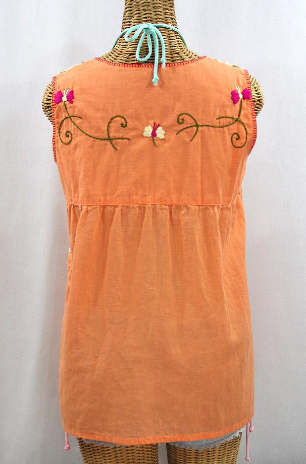 """""""La Sirena"""" Sleeveless Mexican Blouse - Orange Cream + Multi"""